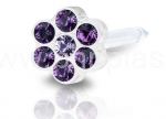 KOLCZYKI MEDICAL PLASTIK DAISY AMETHYST LIGHT AMETHY 5mm